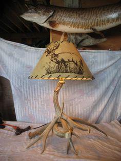 Taxidermy Deer antler lamp table lamp antler art by taxidermyjim, $235.00--- LOVE this!