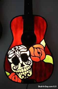 Stained Glass Guitar Skulls