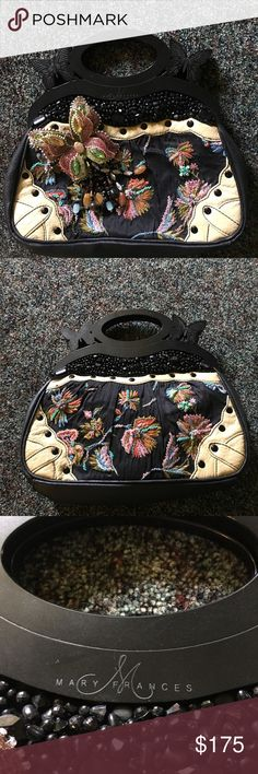 Black Butterfly Mary Frances Bag Stunning Black Mary Frances Bag with beautiful butterflies! Perfect condition. Mary Frances Bags Clutches & Wristlets