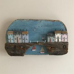 Under the bridge wall plaque. #shabbydaisies #shabbychic #nautical #driftwoodart #rusticart #bridge#sailboats#seaside #seagulls #harbour #handmade