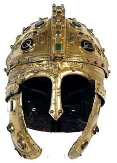 A Late Roman helmet rather of Persian distant origin (design), decorated with semi-gemstones. The Romano-Britons inherited this type together with the rest of the Roman weaponry and military organization.