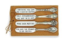 LOTS of really cute and unique butter spreader knives and cheese knife sets. Thanksgiving knife sets, Halloween, Christmas, Winter and Fall-themed spreader knives, too. Some really awesome spreader knives for … Mud Pie Dishes, Mud Pie Kitchen, Kitchen Dining, Stamped Spoons, Spoon Jewelry, Ceramic Pitcher, Stamped Jewelry, Jewelry Stamping, Brunch Items