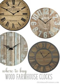 All of the best sources to find large affordable farmhouse wall clocks - many budget friendly places to find oversized clocks! Wood, metal and more