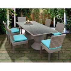 Miseno MPF-OASRECTKIT6C Haven 7 Piece Aluminum (Silver) Framed Outdoor Dining Set with Glass Table Top, Outdoor Décor (Wicker)