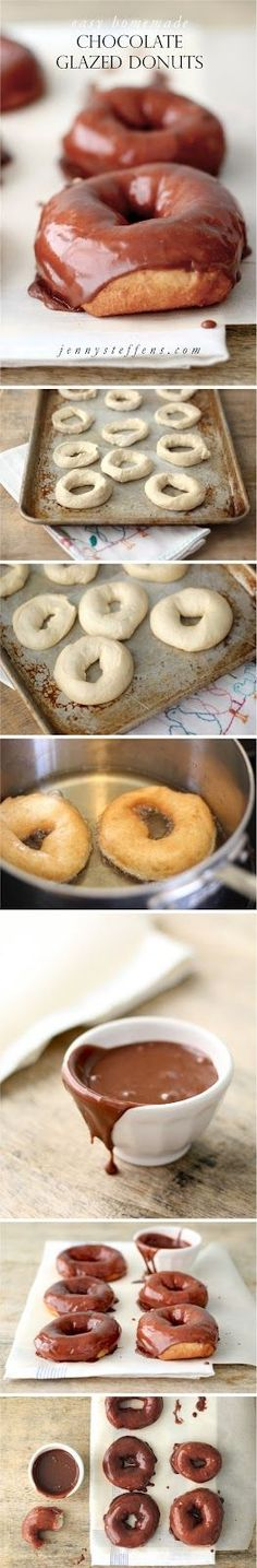 Hot, Dripping, Chocolate Glazed Donuts - the EASIEST recipe... made from frozen bread dough!  http://jennysteffens.blogspot.com/2012/02/homemade-chocolate-glazed-donuts-hot.html
