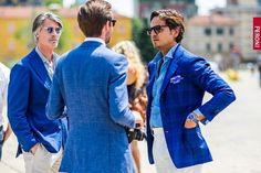http://chicerman.com  billy-george:  Royal blue and Indigo paired with white/cream is really in this season!  Milan Fashion Week Spring Summer 2016  Photo from Dmarge  #streetstyleformen