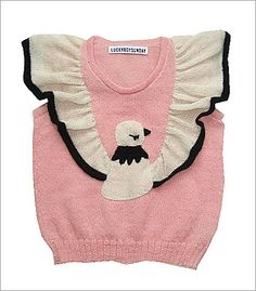 Lucky Boy Sunday pink sweater vest, with white and black bird detail