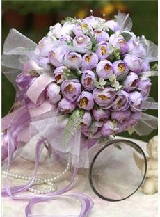 Charme Tissu Purple Bud soie nuptiale de bouquet de mariage