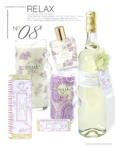 """""""Relax"""" by Lollia. Always a favorite. Lavender & Honey.  ***We have handcremes, bubble bath, candles, bath salts and perfume."""