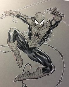Spider-Man by Ken Lashley Spiderman Tattoo, Spiderman Drawing, Marvel Tattoos, Spiderman Art, Amazing Spiderman, Marvel Drawings, Cartoon Drawings, Comic Books Art, Comic Art