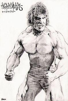 Lou Ferrigno's Hulk in a japanese illustration Hulk Avengers, Hulk Marvel, Batman Vs Superman, Marvel Heroes, Marvel Characters, Marvel Movies, Comic Book Heroes, Comic Books Art, Comic Art