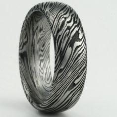 customize your own mokume gane mens or womens wedding band in titanium and black zirconium - Exotic Wedding Rings