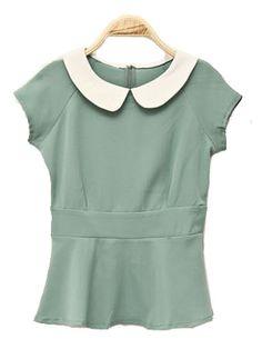 Vintage Collar Short-sleeved Slim Shirt Green