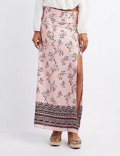 Border Print Slit Maxi Skirt