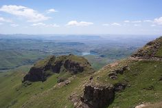In the Drakensberg Mountains looking down into the Tugela River Valley . Namibia, My Land, Zulu, Mountain Range, Rivers, South Africa, Landscapes, Van, African
