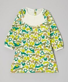 Another great find on #zulily! Green Zoo Critters Organic Smock Dress - Infant & Toddler #zulilyfinds