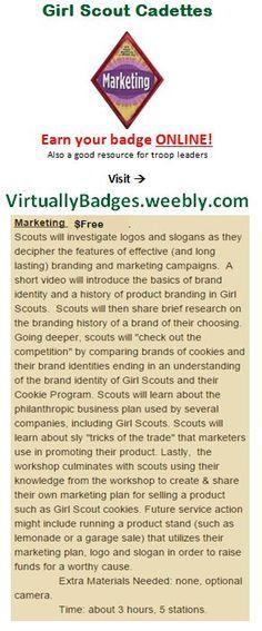 Marketing Girl Scout Cadette Badge earned online!