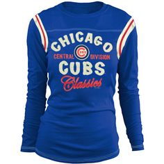 Chicago Cubs Women's Vintage Contrast Long Sleeve Tee by 5th & Ocean (3.22.12)