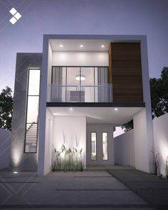 Browse images of modern Houses designs by CDR CONSTRUCTORA. Find the best photos for ideas & inspiration to create your perfect home. Bungalow House Design, House Front Design, Small House Design, Modern House Design, Duplex Design, Modern House Facades, Modern Architecture House, Modern House Plans, Chinese Architecture