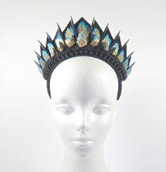Blue Apatite Black Blade Crown - by Loschy Designs. Crystal CrownHeaddressHeadpieceUnique  JewelryGold JewelryWeird FashionTiaras And CrownsHair ... f5f1b347fa5b