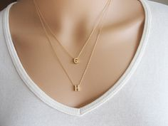 Small Initial Necklace in Gold/ Gold Initial Necklace / Personalized Initial Necklace / Gold Letter Necklace / Single Initial Necklace / Gold Necklace This is a beautiful dainty necklace, very cute and delicate, you can wear it alone or 14k Gold Initial Necklace, Dainty Diamond Necklace, Initial Jewelry, Gold Choker Necklace, Crystal Choker, Initial Necklaces, Necklace Set, Strand Necklace, Layered Necklaces Silver