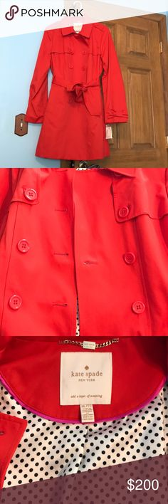 Kate Spade trench coat NWT Kate Spade trench coat. The color is in between red and orange and the interior is pink, white and black. This coat has two pockets on the outside as well as one hidden one on the inside. There is also a belt and hook closer to the neckline of coat. Coat is machine washable and comes with extra buttons. kate spade Jackets & Coats Trench Coats