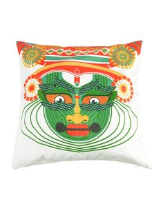 Kathakali Printed Cotton Cushion Cover - 21in x 21in. $50