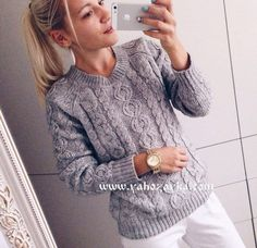 Пуловер с косами Warm Outfits, Winter Fashion Outfits, Knit Fashion, Knitting Designs, Crochet Clothes, Baby Knitting, Knitwear, Knitting Patterns, Knit Crochet