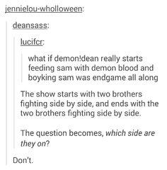 Nope>> Go sit in the corner! Demon Dean, Jared And Jensen, Supernatural Fandom, Destiel, Family Business, Superwholock, Cas, Fangirl, Give It To Me