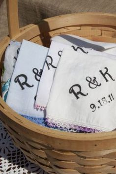 Vintage handkerchiefs silkscreened with the brides' initials and wedding date.