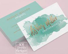Watercolor business card template rose gold printable business card design gold and pink business card rose gold foil makeup artist glitter Watercolor Business Cards, Makeup Artist Business Cards, Watercolor Logo, Printable Business Cards, Photography Business Cards, Green Business, Online Printing Services, Pretty Designs, Rose Gold Foil