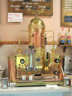 A copper espresso machine. It looks  vintage and it's beautiful. Great for a pick-me-up before a long epic movie.