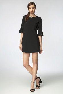 MISEBLA czarna sukienka z ozdobnym dekoltem i rękawkami