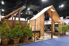 Filson's custom trade show exhibit at the Outdoor Retailer + Snow Show in Denver. This exhibit was designed and fabricated by Condit Exhibits, a full-service exhibit house in Denver, CO. Exhibition Stall, Exhibition Booth Design, Trade Show Design, Store Design, Diy Garden Fence, Industrial Office Design, Outdoor Store, Furniture Showroom, Facade Design