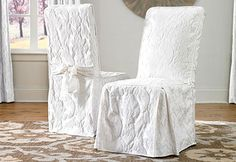 Revamp your dining chairs in a flash with the Sure Fit Matelasse Damask 1 Piece Dining Chair Slipcover . Its textural damask pattern was inspired by. Sure Fit Slipcovers, Dining Room Chair Slipcovers, Furniture Slipcovers, Furniture Covers, Dining Room Chairs, Shabby Chic Furniture, Furniture Vintage, Arm Chairs, Metal Furniture