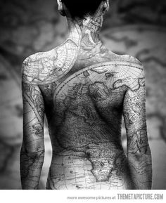 Earth map tattoo