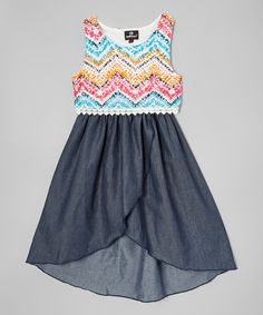 Look at this Navy Chevron Hi-Low Dress - Infant, Toddler & Girls on #zulily today!