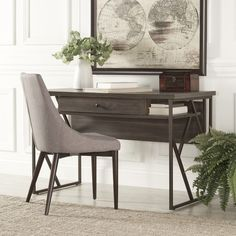 Tribecca Home Lincoln Metal Distressed Storage Brown Writing Desk ($196) ❤ liked on Polyvore featuring home, furniture, desks, brown, metal computer desk, metal writing desk, weathered furniture, distressed furniture and metal desk