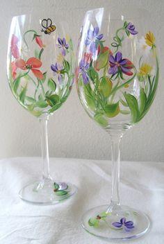 handpainted wildflower wine glass set of four by TivoliGardens