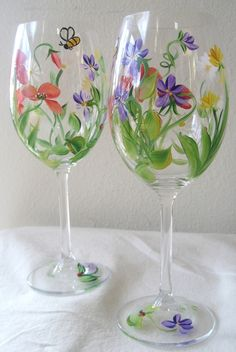 handpainted wildflower wine glass, set of two, shower gift,birthday gift idea