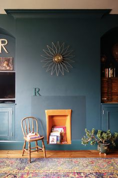 Dark Green Living Room Valspar's Sherwood Forest, Storybook Sundown and Gentle Shadow Eclectic, vintage, retro, mid-century interior design.