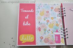 Precioso miniálbum de scrapbooking para bebé niña en tonos rosa. Precious baby girl mini album.