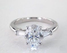 1.7ct Three Stone Oval Engagement Ring White Gold