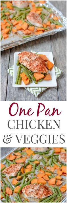 This One Pan Roasted Chicken and Vegetables is the perfect dinner for a busy night. Easy to customize and clean-up is a breeze!