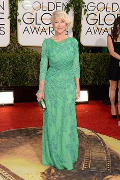 2014 - Hellen Mirren in Jenny Packham gown with Bulgari jewellery and carried a clutch by Roger Vivier