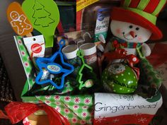 Themed Gift Baskets from She Cooks! Theme Baskets, Themed Gift Baskets, Raffle Baskets, Cookie Baskets, Kids Gift Baskets, Christmas Gifts For Kids, Holiday Gifts, Christmas Ornaments, Cozy Christmas
