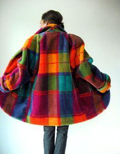 Vintage 80's Avant Garde RAINBOW Plaid Faux Fur Coat / Runway Style