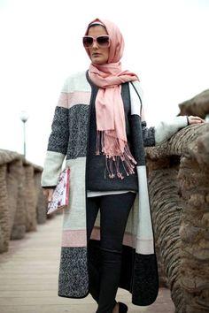 pink colors hijab cardigan