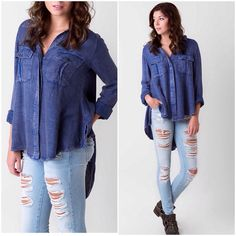 ️Oversized Slouchy  Boyfriend Free People Tunic Super soft denim looking ️oversized high low Free people tunic . Great with leggings and denim . ️oversized style . Pocket detailing . More photos to come . Free People Sweaters