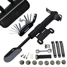 DAWAY A35 Bike Repair Kit - 120 PSI Mini Pump & 16 in 1 Bicycle Multi Tool with Handy Bag Included Glueless Tire Tube Patches & Tire Levers * You can get more details by clicking on the image.